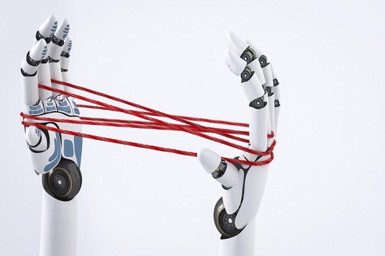 Roboterhände halten Fäden