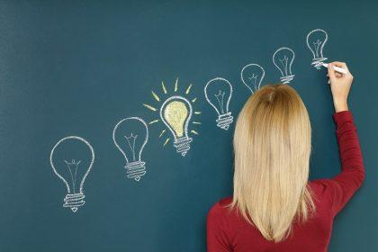 Eine Frau malt Glühbirnen auf eine Tafel.